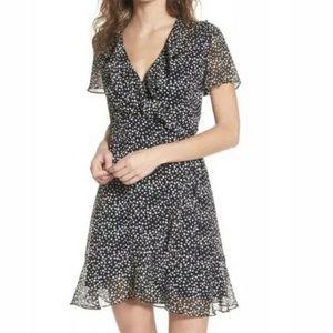 NWT Lush Black White Polka Dot Ruffle Wrap Dress